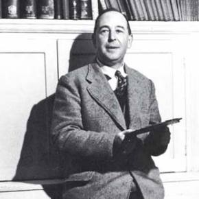C. S. Lewis with old books
