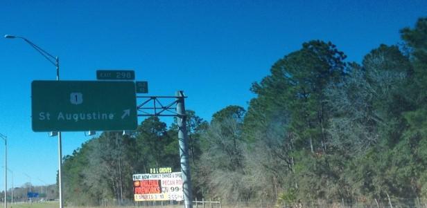 Sign for St. Augustine, FL