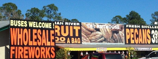 Signs for Indian River Fruit and Fireworks